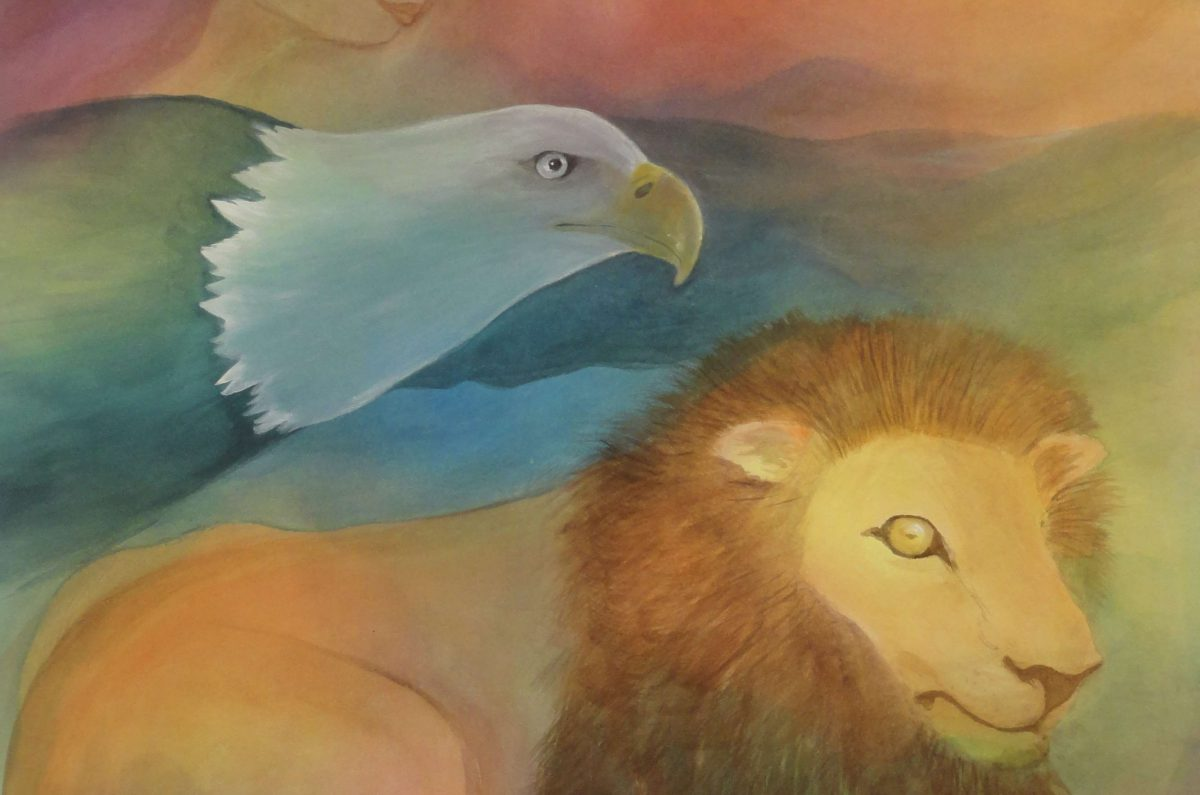 A painting of an eagle and a lion