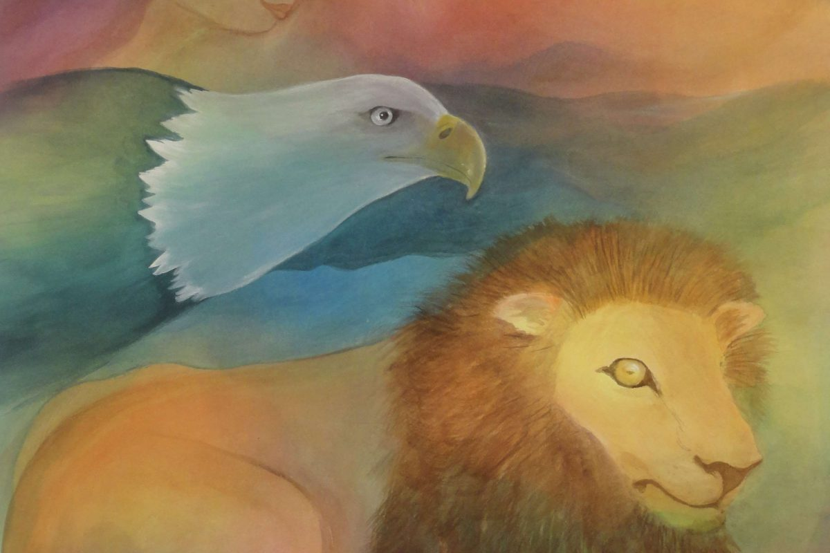 A painting of an eagle and lion
