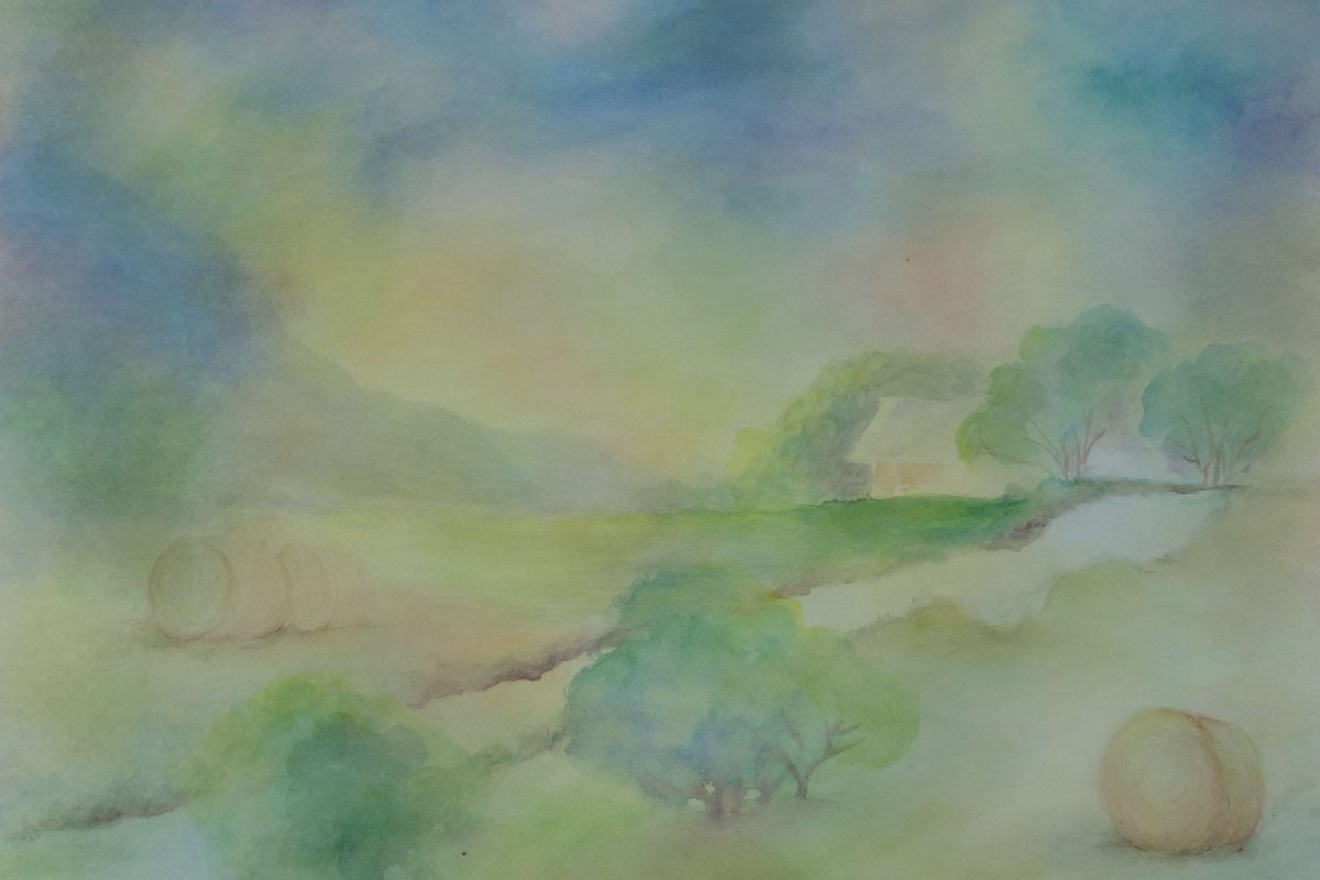 A watercolor landscape painting
