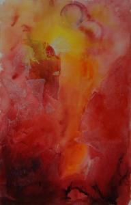 an abstract painting in red and yellow