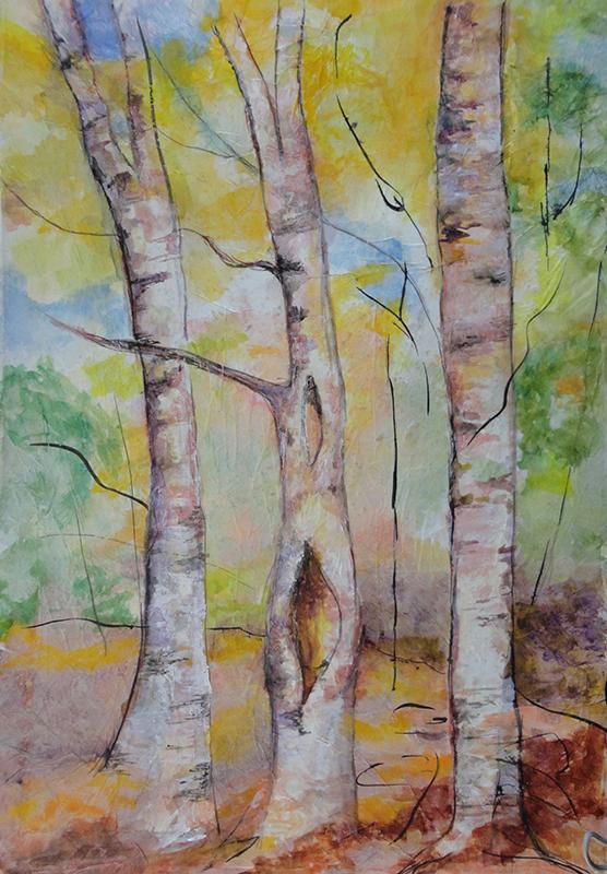 visual art student work trees