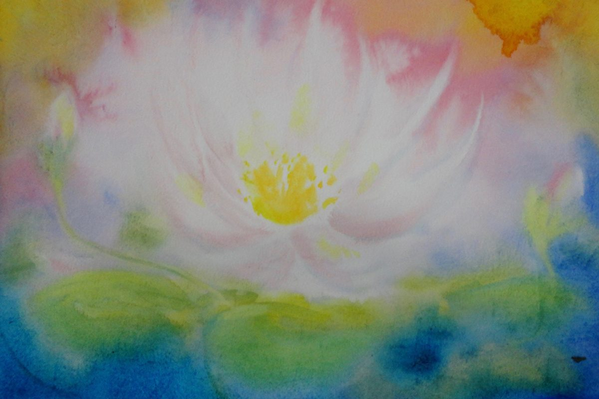 Waldorf teacher ed student work lotus flower watercolor layer painting