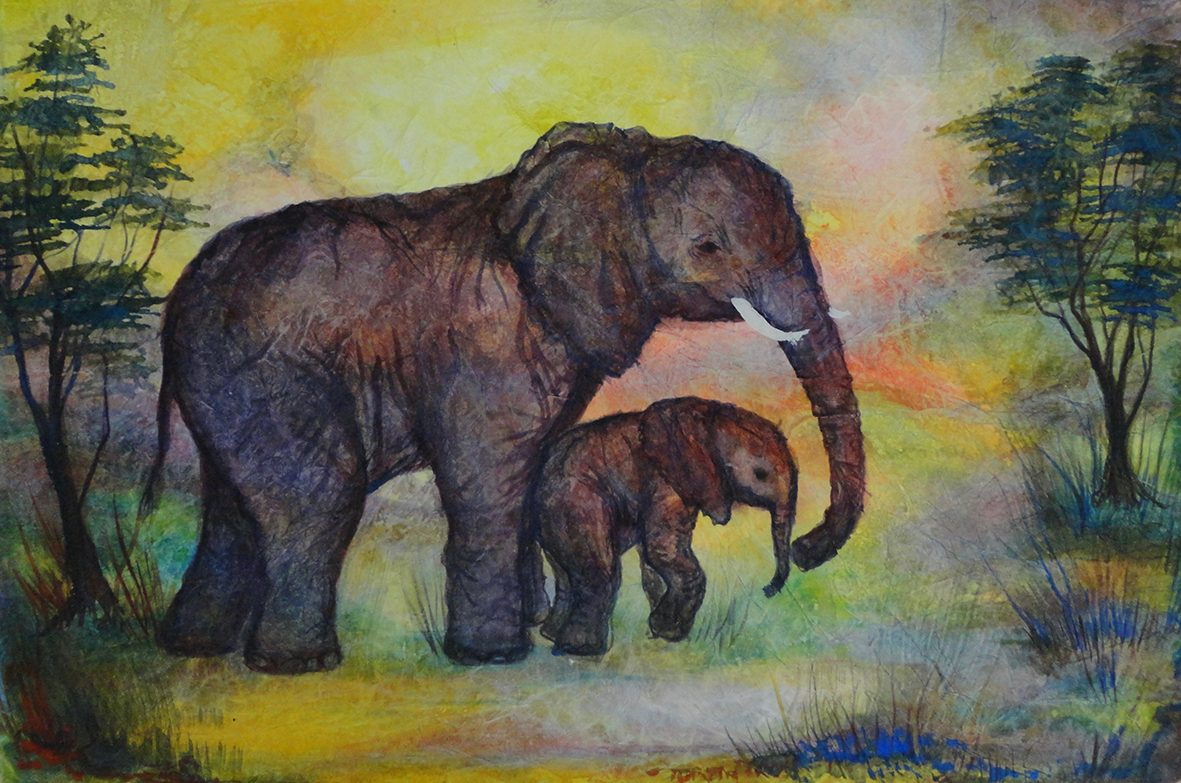 Waldorf teacher ed student work elephant cow and calf watercolor layer painting