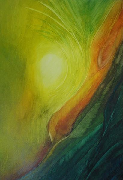 watercolor layer painting yellow orange green