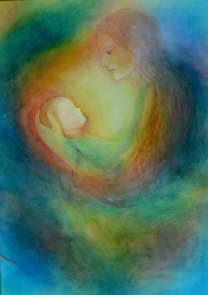 watercolor layer painting mother holding child