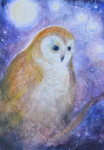 Waldorf teacher ed student work owl watercolor layer painting