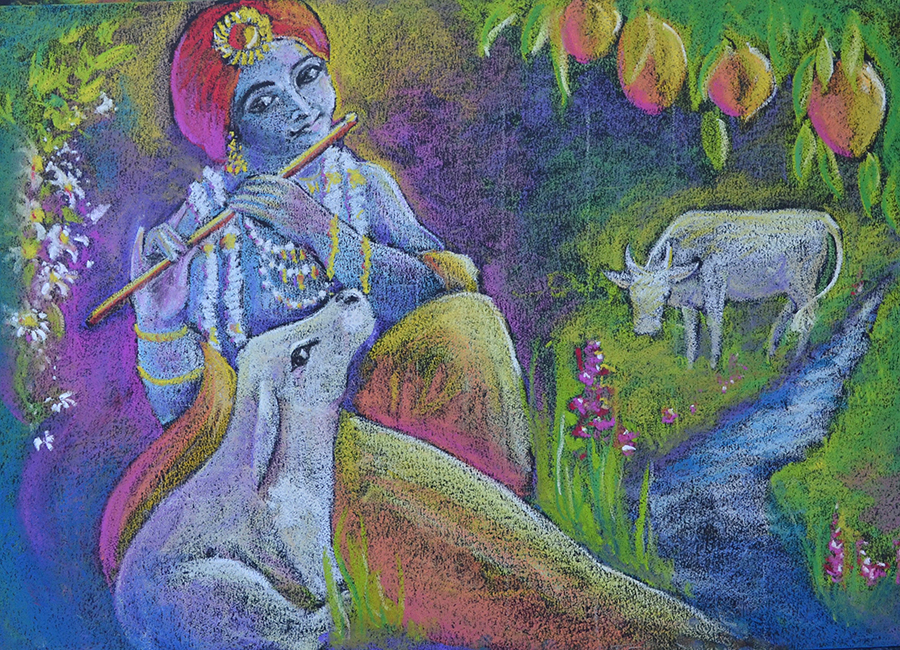 blackboard drawing Indian flute player with calf