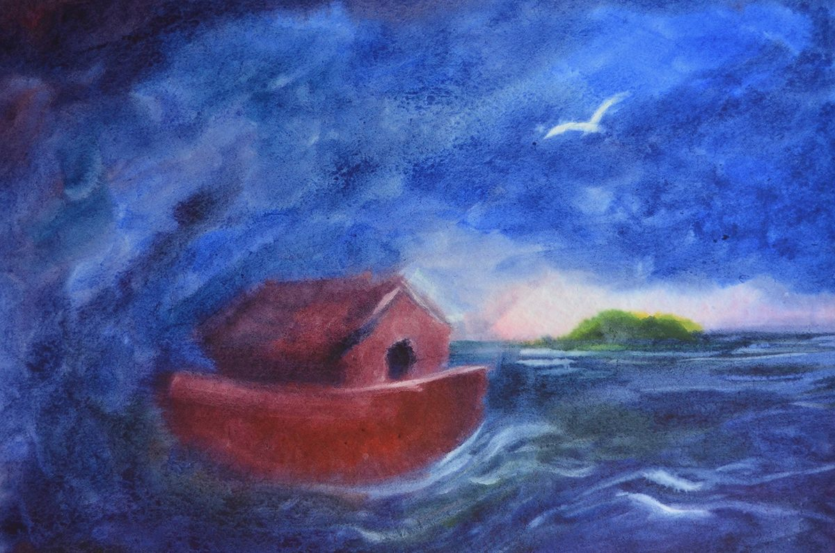 Waldorf teacher ed student work seascape watercolor layer painting with red boat