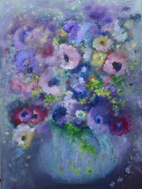 visual art student work flowers