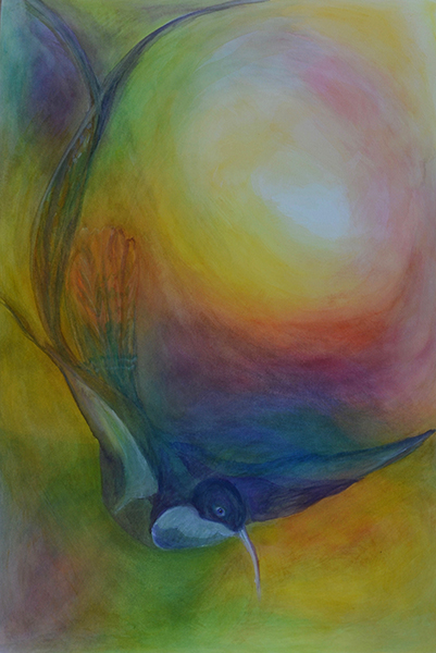 blue bird watercolor layer painting
