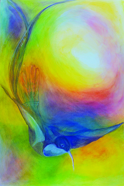 watercolor layer painting blue bird