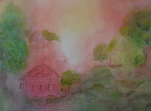 watercolor layer painting landscape with pink predominant