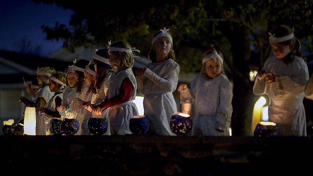 Children with handmade lanterns at Martinmas festival