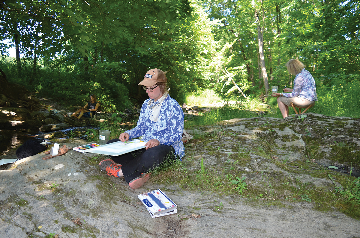 Alkion students sketching outdoors